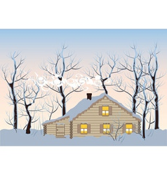 hut in winter forest vector image
