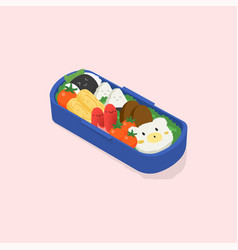 Japanese lunch box bento funny cartoon food vector