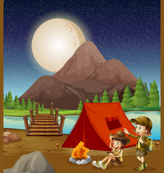 Kids camping in nature vector