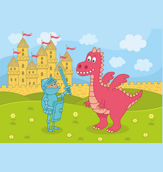 knight and dragon on castle background vector image