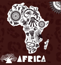 Map africa with ethno pattern tribal vector