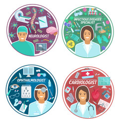 Medical clinic doctors icons vector