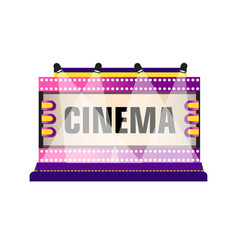 movie and cinema retro signboard of neon light vector image
