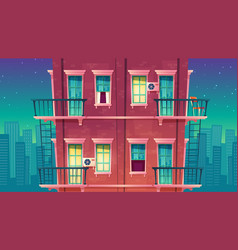 Multi-storey apartment at night house vector