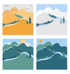 nature landscape in different seasons vector image