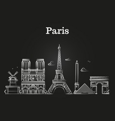 Outline french architecture paris panorama city vector