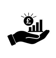 Palm out gbp growth bar chart black isolated on a vector