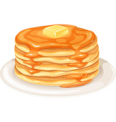 Pancakes with maple syrup vector