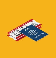 Passport with tickets icon isometric isolated on vector