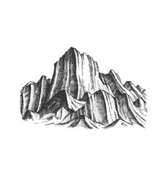 peak of rocky mountain landscape monochrome vector image