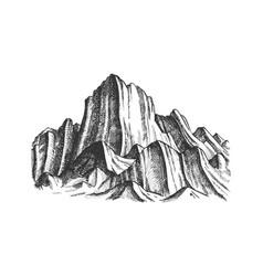 Peak rocky mountain landscape monochrome vector