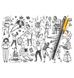 People hand drawn doodle set vector