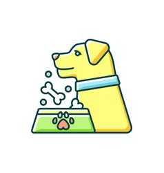 Pet feeding rgb color icon vector