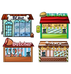 Petshop burger stand butcher shop and bakery vector image vector image