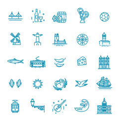 portugal travel icons set outline thin icons vector image