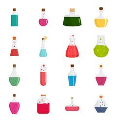 potion magic bottle icons set flat style vector image