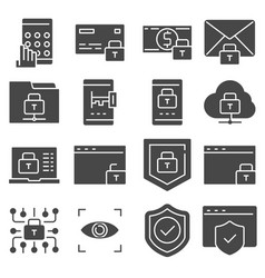 protection and security gray icons set vector image