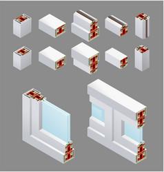 pvc windows isometric elements vector image