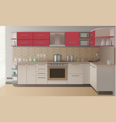 Realistic kitchen interior vector