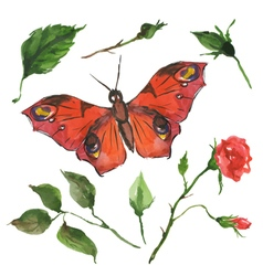 Red butterfly and flowers vector