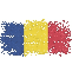 Romanian grunge tile flag vector