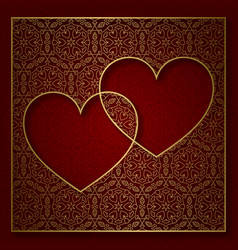 romantic patterned background with frame of two vector image