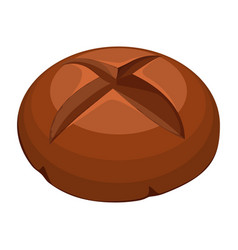 round whole wheat bread realistic style vector image