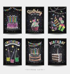 set birthday invitation cards vector image