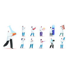 set male and female characters in medical robe vector image