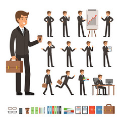 set of businessman in different action vector image