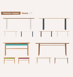 set of desks for interior vector image