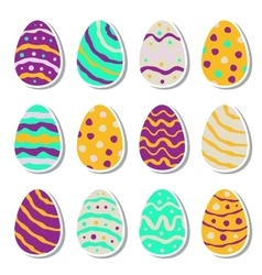 Set of twelve easter eggs isolated on white vector image