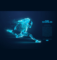 Silhouette a running woman athlete runs sprint vector