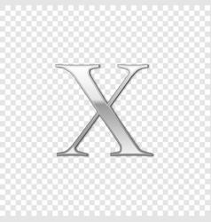 Silver roman numeral number 10 x ten in alphabet vector