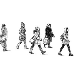 Sketch casual towns pedestrians vector