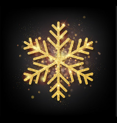 Sparkling golden snowflake with glitter texture vector