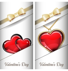 St Valentines Day Set of white ornate label with vector
