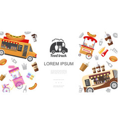 street food trucks and carts template vector image