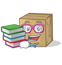 Student with book cardboard character character vector