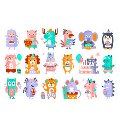 stylized funky animals birthday party sticker set vector image