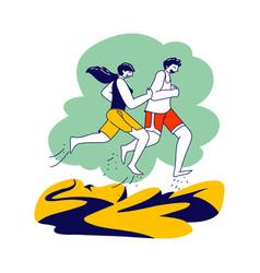 Summer outdoor sport activity couple running on vector