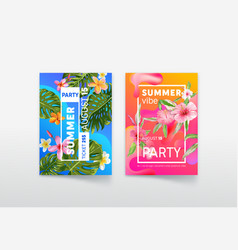 summer vibe party poster and ticket with tropical vector image