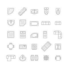 Top view furniture icons set vector