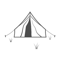 Tourist tent placed on meadow isolated on white vector image