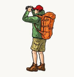 Tourist with backpack looking through binoculars vector