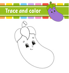 Trace and color handwriting practice education vector