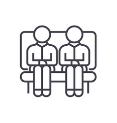two men on sofa line icon sign vector image