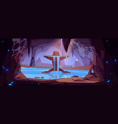 Underground waterfall in cave scenery landscape vector