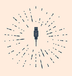 Usb cable cord icon on beige background vector