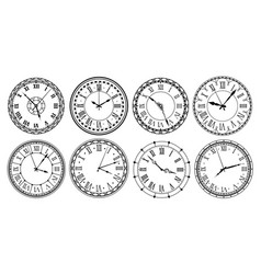 Vintage clock face retro clocks watchface with vector